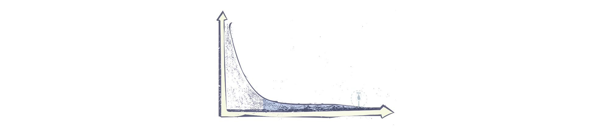 Drawing of a long-tail statistical distribution