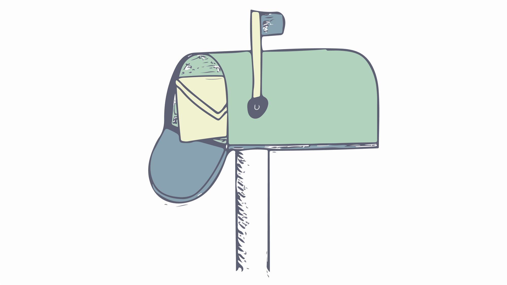 A drawing of a mailbox with a letter inside