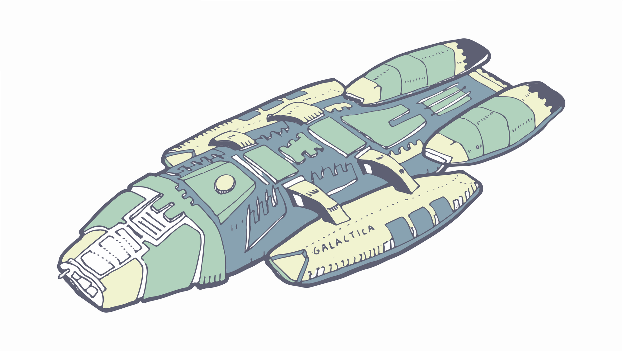 drawing of the Battlestar Galactica ship