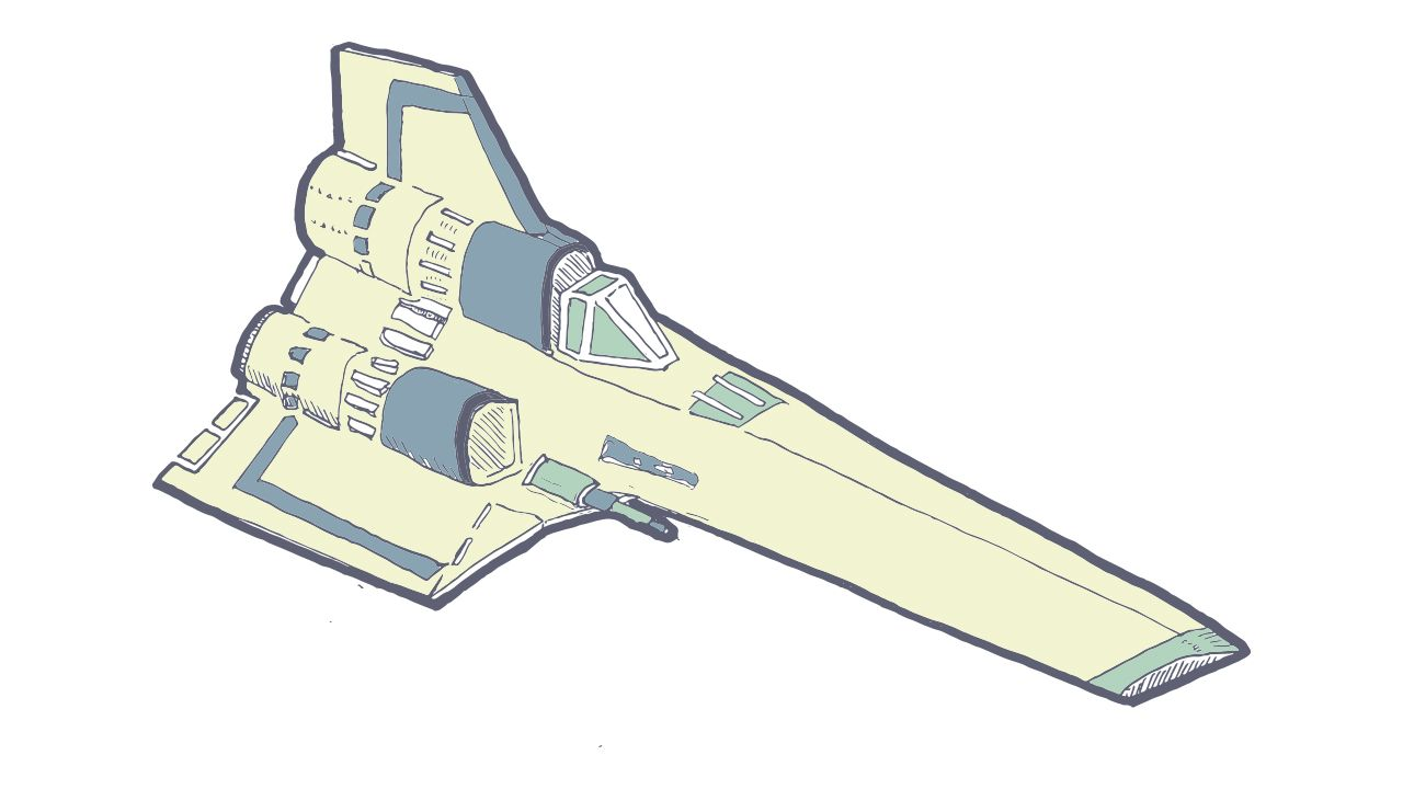 drawing of a Colonial Viper ship