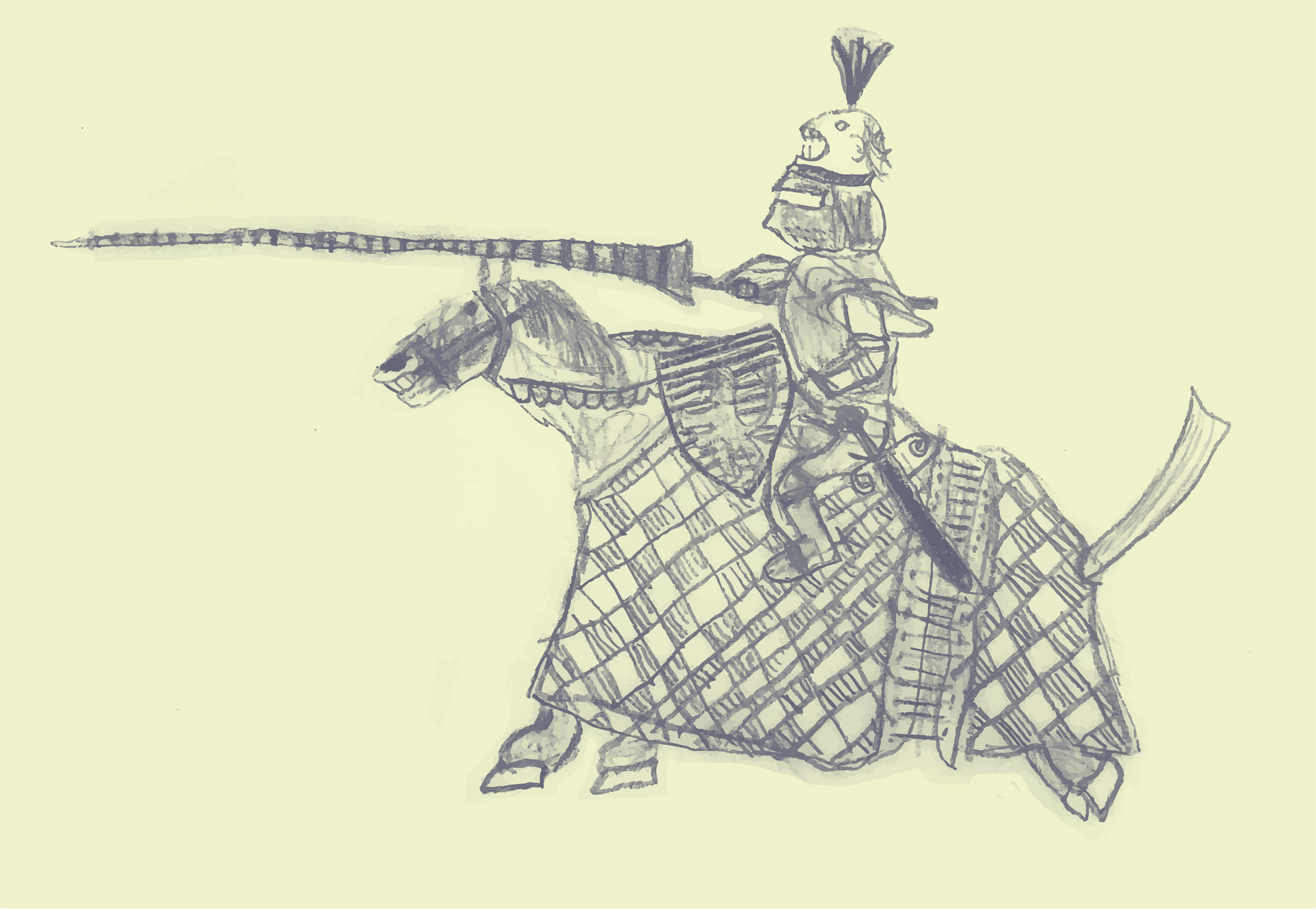 drawing of a jousting knight on horseback