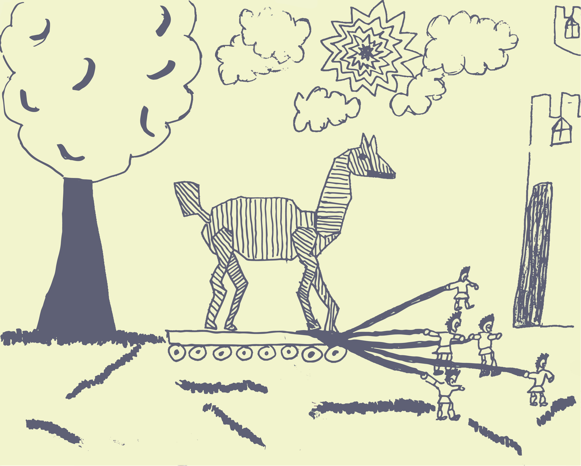 drawing of a trojan horse being pulled towards a castle